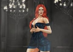 ♚ Look #682 ♚ (Caity Saint) Tags: tableauvivant insomnia fameshed dress redhead bunny mask sl secondlife pixels avatar backdrop