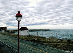 ... (Jean S..) Tags: dock water river street streetlight red building grass stone clouds cloudy