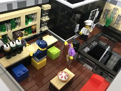 The Vybe Hotel - Lounge (wooootles) Tags: lego moc legomoc building legobuilding architecture hotel legohotel skyscraper legoskyscraper legomodular legocity interior interiordesign boutique vybe thevybe bar lobby lounge