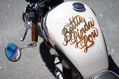"""Bettie Linda Lou"" (Eric Flexyourhead) Tags: vancouver canada britishcolumbia bc gastown cordovastreet westcordova city urban detail fragment motorcycle motorbike bike british triumph tank fueltank pinstriping bettielindalou shallowdepthoffield bokeh sonyalphaa7 zeisssonnartfe55mmf18za zeiss 55mmf18"