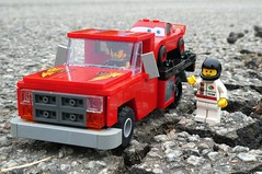 Race Team (captain_joe) Tags: toy spielzeug 365toyproject lego minifigure minifig moc car auto 7wide dodge ram 250 flatbed truck lorry lightning mcqueen octan tarmac asphalt
