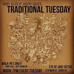 Traditional Tuesday Starting May 9th. Every Tuesday noon-7pm, Walk-ins only! @abob138 and Myself will have traditional flash for you to choose from. Get something classic, get something fun! You pick it, we tattoo it! New painted flash every week!