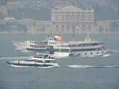 The vessels 'Kaderim 8', 'Tafralı' and 'Nurettin Alptoğan' on the Bosphorus, with the Dolmabahçe Sarayı (Palace) as a backdrop, Istanbul (Steve Hobson) Tags: bosphorus istanbul dolmabahçe sarayı palace boats