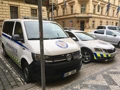 Prague Police Car Skoda Octavia & VW Van (mangopulp2008) Tags: prague police car skoda octavia czech republic
