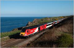 North Sea HST (Resilient741) Tags: class 43 hst high speed train trains 43112 43312 vtec lner london north eastern railwa service br british railways scotland uk united kingdom sea cliff railroad