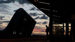 Skyrail, Melbourne (Josh Khaw) Tags: sunset silhouette train station platform melbourne australia railway figure street