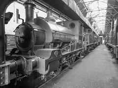 Ex-GWR 1338 (Jason_Hood) Tags: 1338 gwr greatwesternrailway 040st cardiffrailway didcotrailwaycentre blackandwhite monochrome
