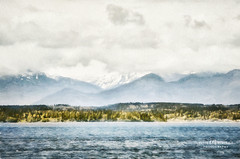 Out of the mists... (Candy McDonald) Tags: digitalart digitallandscapeart fineartphotography texturedmanipulation nikond5600 pnw mountains mountainsandwater olympicmountains pugetsound seattle photomanipulation photoshop nikcollection topazstudio painterly