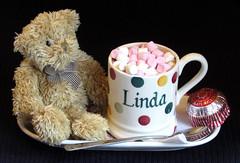Smile on Saturday.     My Name Is... (the.haggishunter) Tags: treat hot chocolate drink marshmallows pink white cake spoon mug spots emmabridgewater name bear mynameis smileonsaturday moments