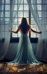 Looking Out ({jessica drossin}) Tags: jessicadrossin portrait back turned window rain shadow light studio drapes curtains sheer pretty blue dress hair wwwjessicadrossincom