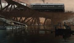 The bridge (Jörn Pachl) Tags: modelleisenbahn modellbahn russianrailways sovietrailways m62 diesellocomotive tankcar diorama ttscale 1120 photomanipulation semidigitalart mixedmediaart scaleart metroexodus