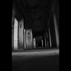 Dark Hall,  BnW (CaptJackSavvy) Tags: urbandecay urbanexploration urbanspelunking urbanex urbex decay old abandoned abandonedbuilding trespassing