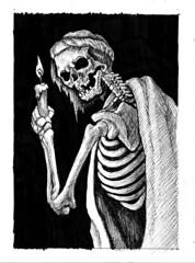 Necrotic Underworld Guide (ashley russell 676) Tags: horror illustration darkart dark macabre undead underworld hell spirit pen ink crosshatch