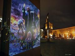 Euromaidan picture (fulgherigabriele) Tags: maidan night lights todontforget flag ukraine kiev kyiv architecture building