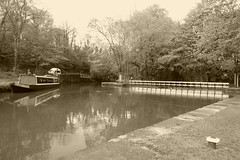 Canal basin at Whaley Bridge Wharf   (sepia version ). (Peak Forest Canal)   May 2019. (dave_attrill) Tags: basin wharf whaleybridge peakforest canal towpath peakdistrict nationalpark derbyshire may 2019 cheshirering waterway sepia monochrome