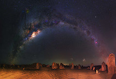 Milky Way at The Pinnacles Desert, Western Australia (inefekt69) Tags: pinnacles desert nambung national park panorama stitched mosaic ms ice milky way cosmology southern hemisphere cosmos western australia dslr long exposure rural night photography nikon stars astronomy space galaxy astrophotography outdoor core great rift ancient sky 50mm d5500 landscape nikkor prime lens hoya red intensifier filter