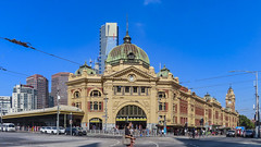 Flinders Street Station - Melbourne (Bobinstow2010) Tags: melbourne australia railway station flinders federationsquare buildings clock road junction people blue sky