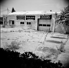San Pablo Ave., Berkeley, CA (Timothy Lewis Jr.) Tags: analoguefilm architecture analogue holgaphotos holga120n mediumformat 120film trix120 trixpushed2stops orangefilter kodaktrix berkeley building blackandwhite blackandwhitefilm bw