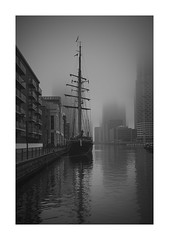 Dockside (richieJ 11) Tags: canarywharf mist dock mooring ship boat sailship mono blackandwhite mood london vulture labs