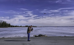 Boys and their toy's . . (JLS Photography - Alaska) Tags: alaska alaskalandscape america docdoolittle doc jlsphotographyalaska landscape lake lastfrontier lakelouise ice spring sky man person people drone