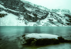 Banff NP, Canada: Lake Louise in Winter Rain (rocinante11) Tags: canada alberta banff nationalpark winter snow water lakelouise blue film fujifilm fujivelvia crossprocess xpro