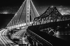 It's All Over and I'm Standing Pretty (Thomas Hawk) Tags: america bayarea baybridge california eastbay northerncalifornia oakland sf sfbayarea sanfrancisco usa unitedstates unitedstatesofamerica westcoast bridge bw night norcal fav10 fav25 fav50 fav100