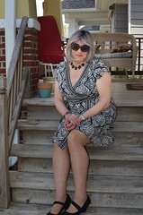 Lonely Girl (Laurette Victoria) Tags: porch gray dress sunglasses woman laurette