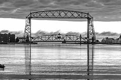 16-7393bw (George Hamlin) Tags: minnesota duluth aerial lift bridge lake superior harbor silhouette water ripples trees sky monochrome black white reflections photo decor george hamlin photography clouds