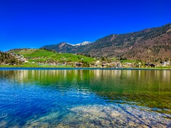 Lake Thiersee in Tyrol, Austria (UweBKK (α 77 on )) Tags: lake thiersee water reflection clear sky blue mountain landscape scene scenery scenic tyrol tirol austria europe europa iphone österreich