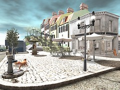 Lovely Town (koro/carnell) Tags: dog secondlife cozy town pavement streetlight