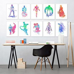 Colorful Watercolor Avengers Super Heros Batman Iron Man Thor Canvas Art Prints Movie Poster A4 Modern Wall Picture Kids Room Decor Painting by TheMildArt (Mild Art) Tags: art poster print painting canvas frame design original mild home decoration wall etsy shop for themildart