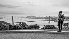 High View (John St John Photography) Tags: california marinheadlands marincounty streetphotography candidphotography youngwoman goldengatebridge sanfrancisco embarcadero sanfranciscooaklandbaybridge bw blackandwhite blackwhite blackwhitephotos johnstjohnphotography