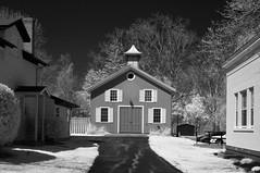 The Barn (infrared) (dr_marvel) Tags: ir infrared ny pittsford rochester newyork barn driveway monochrome blackandwhite windows doors