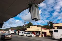 Fancy Pants (Jocey K) Tags: newzealand southisland town buildings architecture murchison cars shops pants art flowerholders carvan tasmandistrict hills trees sky clouds