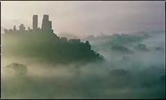 castle and village (steve-jack) Tags: hasselblad 501cm 150mm kodak portra 160 2 shot panorama film 120 6x6 medium format corfe castle mist fog dawn tetenal c41 epson v500
