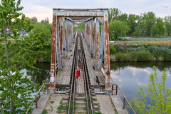 Bridge sentinell (piotr_szymanek) Tags: ania aniaz woman young skinny portrait outdoor face red dress bridge drone fromabove rail legs water river highheels 1k 20f 5k 50f 10k 100f
