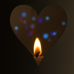 """Macro Monday - one of the """"Four Elements"""" theme for May 6th. (alderson.yvonne) Tags: macromonday fourelements heart flame candle bokeh"""