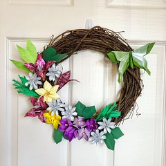 Origami Spring Grapevine Wreath (katypillar22) Tags: origami wreath spring paper handmade lunamoth grapevine