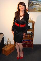 Black & Red (Rikky_Satin) Tags: silk satin blouse skirt highheels pumps crossdresser transvestite tgirl tgurl gurl sissy secretary