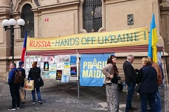 Crimea is not Russia! (t.horak) Tags: prague politics demonstration demonstrators banner russia ukraine street people aggression flag words freedom democracy transparency maidan support