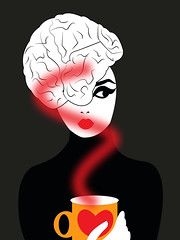 illustration of a woman with brain as a hairstyle and a coffee in her hands (illustrationvintage) Tags: brain conceptual creativity coffee imagination inspiration marketing think intelligence invention strategy background mind technology communication stress tea brainstorming machine learning computer system illuminating psychology achievement job illustration thought symbol process storming expertise decision development power problem design solution cup thinking energy business idea innovation creative concept