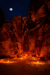 Lighting the Siq (Trent's Pics) Tags: nightphotography petrabynight rosecity unescoworldheritagesite wondersoftheworld albatra ancient arab architecture candles jordan luminaries maan nabatean night petra raqmu ruins siq
