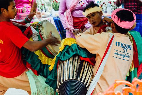 Drummers at Nat Pwe Ceremony, Mandalay Myanmar