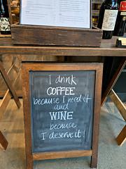 2019 Sydney: I Drink Coffee (dominotic) Tags: 2019 sign wine wineshop cafe idrinkcoffeebecauseineeditandwinebecauseideserveit cafesign yᑌᗰᗰy iphonexsmax humoroussign sydney australia