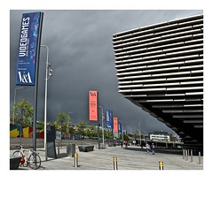 A grey day at the V&A! (john.methven) Tags: dundee scotland museum va banners sky architecture