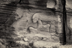 'Two-faced' (Canadapt) Tags: cliff carving sculpture rock face goddess mythical bw aguda portugal canadapt god