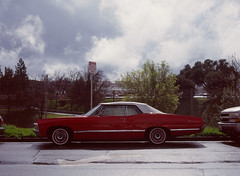 Sunnyvale, California (bior) Tags: pentax645nii pentax645 6x45cm ektachrome e200 kodakektachrome slidefilm mediumformat 120 sunnyvale street residential suburbs car chevy chevrolet impala convertable redcar