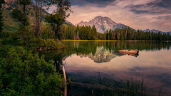 Leigh Lake, Morning (PrevailingConditions) Tags: leighlake grandtetons grandtetonnationalpark lake landscape reflection trees mountains morning