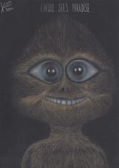 Chewie sees paradise. (Klaas van den Burg) Tags: charcoal colored pencilchewbacca humor paradise absurd