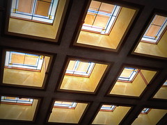 Skylights at Unity Temple (yooperann) Tags: park unity temple frank lloyd wright architecture skylights stained art glass geometric patterns restoration oakpark